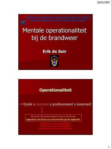 Mentale operationaliteit bij de brandweer