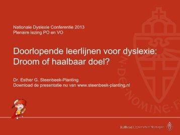 Bekijk hier de presentatie - Nationale Dyslexie Conferentie