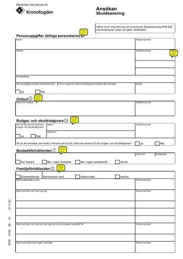 SKV 9150 utgåva 8, Ansökan om skuldsanering - Kronofogden