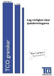 TCO granskar nr 14 2005: Låg rörlighet ökar sjukskrivningarna