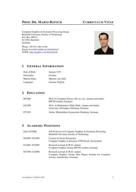 CV Mario Botsch - Computer Graphics & Geometry Processing - Home