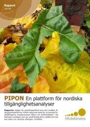 PIPON-en plattform för nordiska tillgänglighetsanalyser - Tillväxtanalys