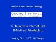 Nutzung von Internet und E-Mail am Arbeitsplatz - Georg | Winkel