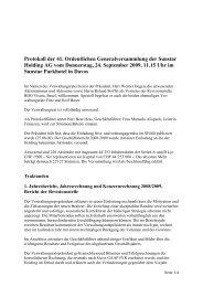 Protokoll der 41. Ordentlichen Generalversammlung der Sunstar ...