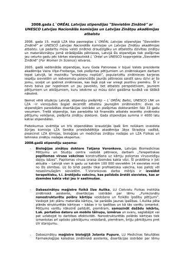 """Pārskats par L`ORÉAL Latvijas stipendijas """"Sievietēm zinātnē ..."""