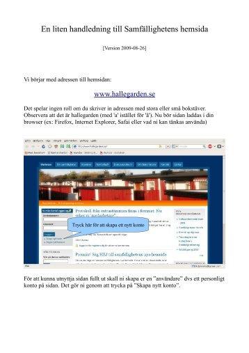 En liten handledning till Samfällighetens hemsida - Startsidan