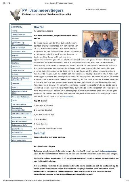 Klik hier voor jonge duiven archief 201 - PV IJsselmeervliegers