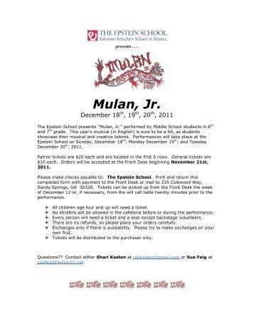 Disneys mulanjr castofcharacters theensembleprovides mulan jr epstein school fandeluxe Gallery