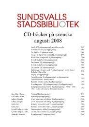 CD-böcker på svenska augusti 2008 - Sundsvall