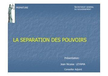 LA SEPARATION DES POUVOIRS