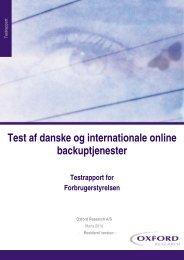 Test af danske og internationale online backuptjenester Testrapport ...