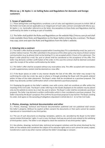 Selling Rules and Regulations - Katalog - Micros