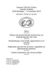 De examen menu's - Cuisine Culinaire Nijmegen