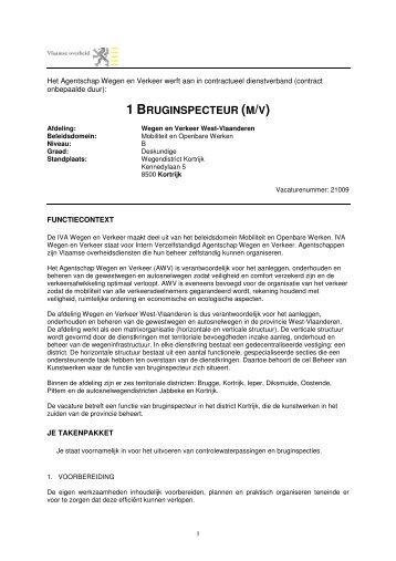 1 BRUGINSPECTEUR (M/V) - Jobpunt Vlaanderen