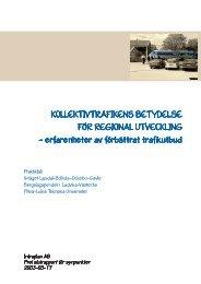 KOLLEKTIVTRAFIKENS BETYDELSE FÖR REGIONAL UTVECKLING