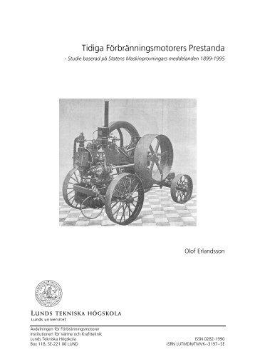 Tidiga Förbränningsmotorers Prestanda - IC-Engine Research