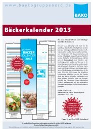 Bäckerkalender 2013 - BÄKO Gruppe Nord