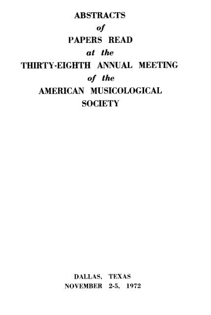 abstracts - American Musicological Society