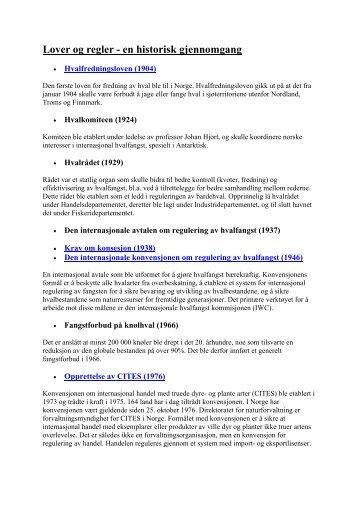 Lover og regler - en historisk gjennomgang - Hvalfangst.info