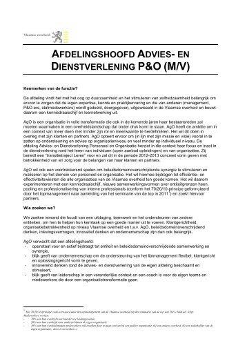 afdelingshoofd advies - Jobpunt Vlaanderen