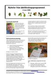 Nyheter från ädellövskogsprogrammet
