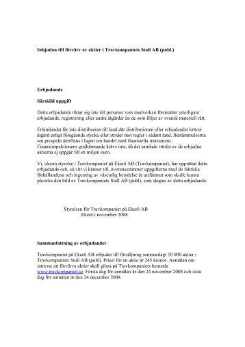 Inbjudan till förvärv av aktier i Travkompaniets Stall AB under ...