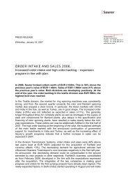 ORDER INTAKE AND SALES 2006. Increased ... - Oerlikon Barmag