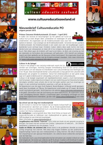 nieuwsbrief PO - januari 2012 - cultuureducatie in Zeeland