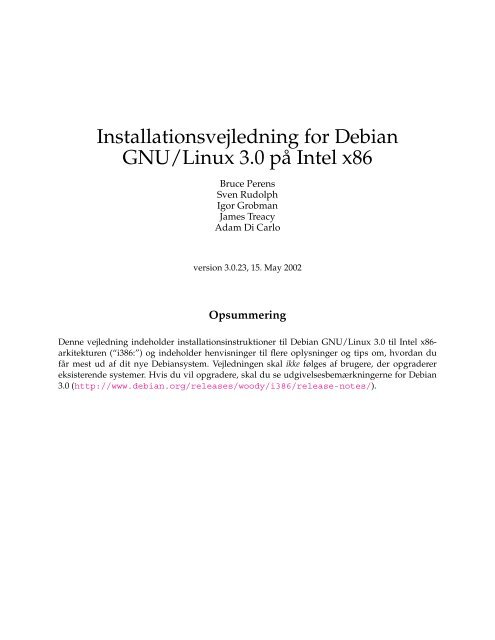 Installationsvejledning for Debian GNU/Linux 3.0 ... - archive - Debian