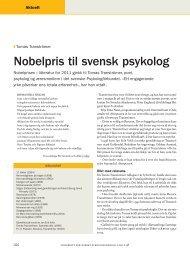 Nobelpris til svensk psykolog - Tidsskrift for Norsk Psykologforening