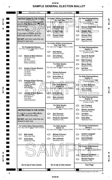 Sample general election ballot lincoln county, south.