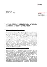 SAURER REJECTS ACCUSATIONS BY LAXEY ... - Oerlikon Barmag