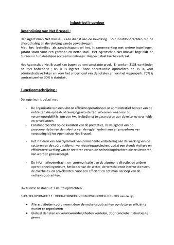 Beschrijving van Net Brussel : Functieomschrijving :