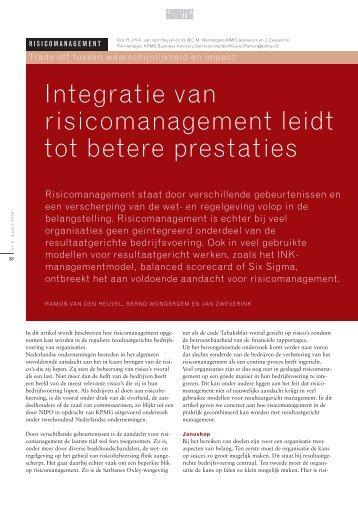 Integratie van risicomanagement leidt tot betere prestaties
