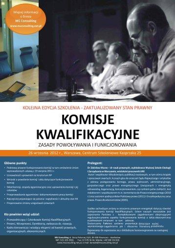 Szkolenie Komisje Kwalifikacyjne - dr Z. Muras - MS Consulting