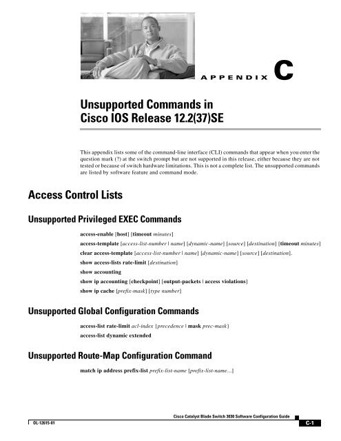 Unsupported Commands in Cisco IOS Release 12.2(37)SE on