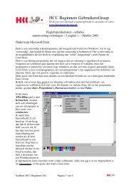 Handleiding Paint - HCC Beginners Gebruikers Groep