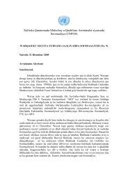 Letter to the members of the Somali Jaaliyadda