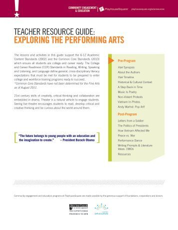 Teacher Resource Guide: Exploring the ... - PlayhouseSquare