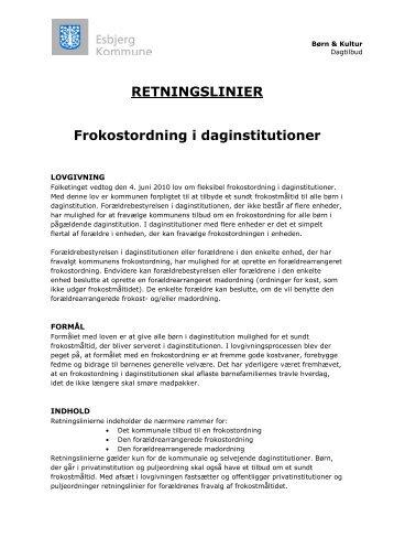 frokostordning i daginstitutioner - Esbjerg Kommune