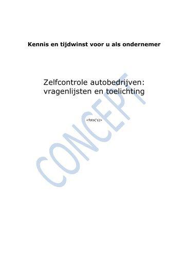 Zelfcontrole autobedrijven: vragenlijsten en toelichting - Pmgg