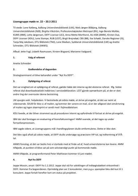 Referat af møde nr. 22 - DEFF
