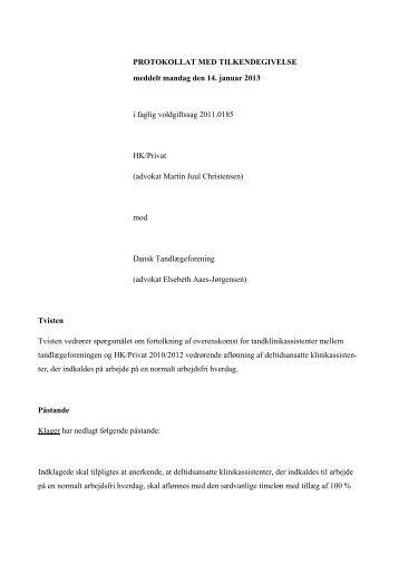 Sag nr. FV2011.0185 Jon Stokholm - Arbejdsretten