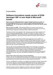 Download hele pressemeddelelsen - Software Innovation