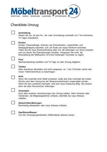 Checkliste Umzug - Möbel Transport 24
