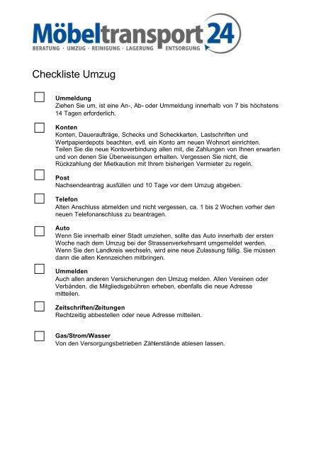 Checkliste Umzug Möbel Transport 24