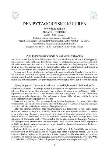 DEN PYTAGOREISKE KURIREN - Livskunskap