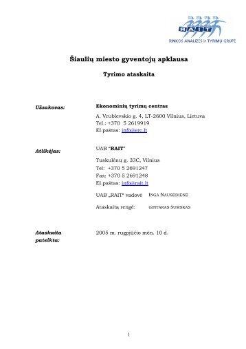 Šiaulių miesto gyventojų apklausa - Šiaulių miesto savivaldybė