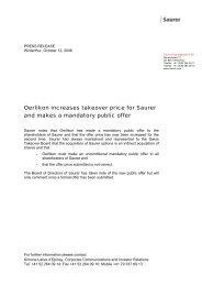 Oerlikon increases takeover price for Saurer and ... - Oerlikon Barmag