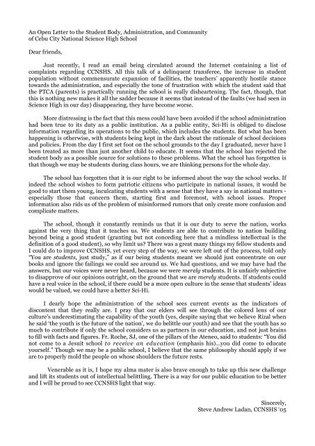 d971dda126b An Open Letter to the Student Body